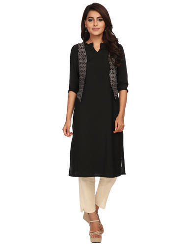 Casual Wear Black Colour Long Kurta With Printed Jacket