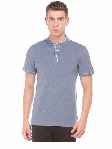 27926245fe Light Blue Mandarin Collar Pique Polo T-Shirt