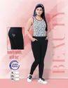 Cotton Regular Fit Ladies Black Solid Ankle Pant