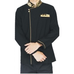 Black And Golden Cotton Hotel Caterer Uniforms, Size: S-XXL