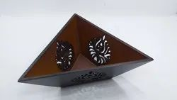 Brown Wooden Triangle Waterproof Laser Cut Bowl, For Home