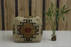 Jute Wool Kilim Pouf Ottoman Hand Woven Kilim Pouf Cover Pouffe Stool