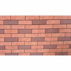 Rectangular Wall Panel Red Bricks (chocolate and red), Size: 12X3 Inch
