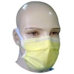 Non Woven Disposable 4 Ply Tie On Yellow Surgical Mask
