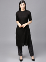 Black Solid Straight Kurta