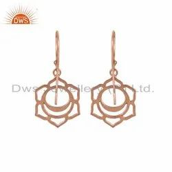Rose Gold Plated Plain Silver Svadisthana Chakra Earrings