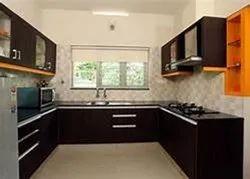 Wooden U Shape Modular Kitchen