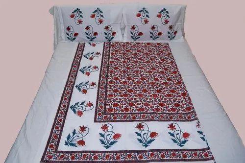 Cotton Block Printed Bed Sheet With KalamKari Design