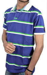 Men Blue Stripes Polo T Shirt