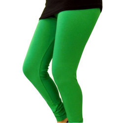Green Plain Cotton Lycra Legging, Size: Large And XL