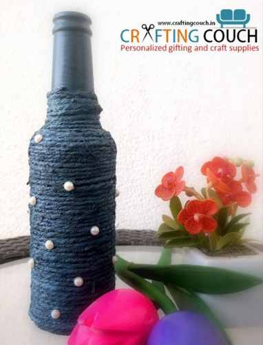 Blue And Green Decorative Glass Bottle With Jute Thread Rs 149