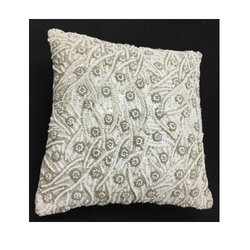 White Cotton And Pure Georgette Embroidered Cushion Cover, Size: Standard