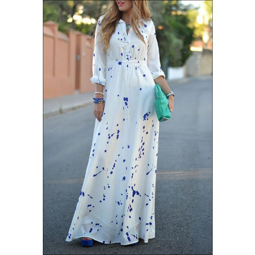 Rage You White and Ladies White Polyester Maxi Dress