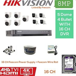 Feecom HIKVISION 4K Supper HD 8MP Cameras Combo KIT 16CH HD DVR 4 Bullet Cameras 5 Dome Camera 2T