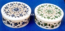 Marble Round Jewelry Boxes