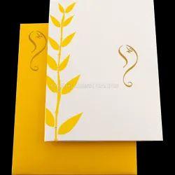 Single Fold Insert Ganesha Designer Hindu Wedding Invite, Size: 6.25