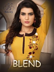 Blend -Banwary Heavy Premium Cotton With Embroidery Work Traditional Designer Kurtis
