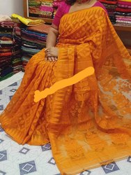 Pure Cotton Party Wear Dhakai Jamdani Saree, Without Blouse, 5.5 m