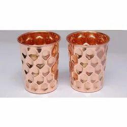 Hammered Brass Glass, Shape: Round (base), Size: 12 X 9 X 6.5 Cm