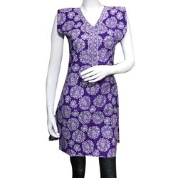 Purple Cotton Printed Kurti