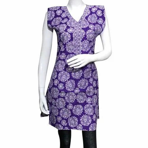 Formal Wear Purple Cotton Printed Kurti