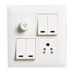 Abs Plastic Modular Electrical Switch Board, 1 Regulator, 1 Socket
