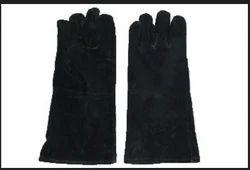 Leather(Buff/Split/Chrome) Unisex Heavy Welding Gloves NHW- 533.35. (BLK)