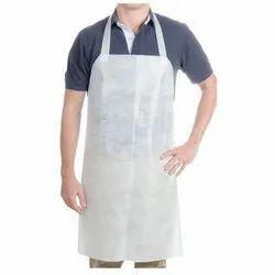 PE Plain White Disposable Apron, Size: S-L