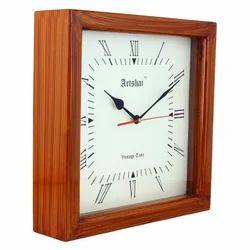 Brown Wood Square 12 Inch Designer Wall Clock