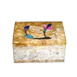 Soapstone Decorative Box With Flower Design