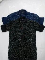 2 colors Mens Leaf Print Cotton Shirt