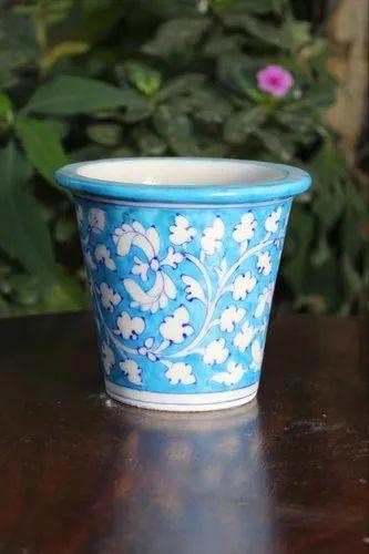 Blue Pottery Flower Pot, for Interior Decor