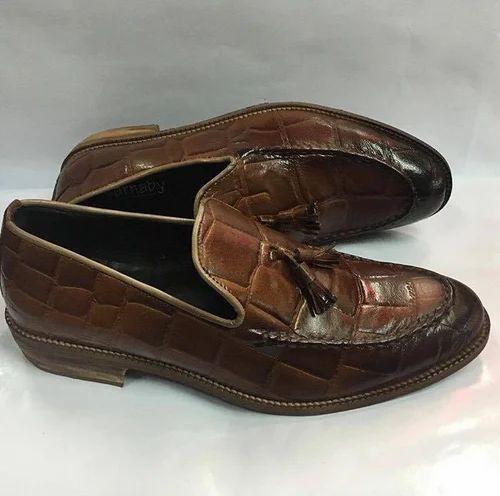 b494c3b0f931d Crocodile Embossed Calf Skin Leather Loafers, मगरमच्छ के ...
