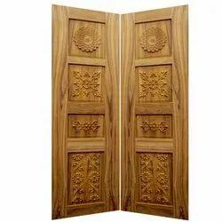 Hinged Teak Wood Carved Double Door