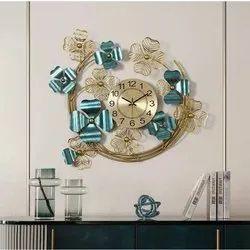 Designer Wrought Iron And Gunmetal Wall Clock