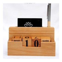 Brown Wood Pen Stand With Calendar