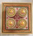 Traditional Golden Marble Tray Set With Meenakari Work, Size: 9x9 Inch