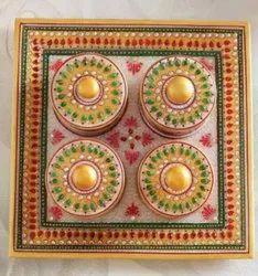 Marble Tray Set  with Meenakari Work
