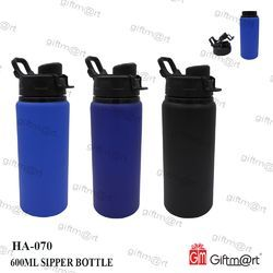 Black And Blue Aluminium HA-070 600 ml Sipper Bottle, Round