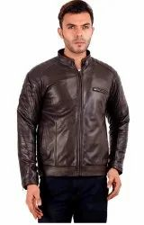 Casual Wear Round Black Leather Jacket