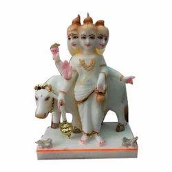 Painted Marble Dattatreya Statue