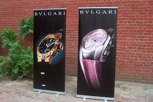 Black Roll Up Banner Stand, For Commercial