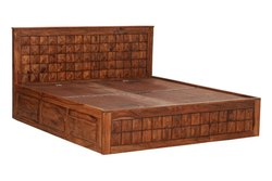 Modern Soni Art Exports Brown Color Solid Diamond Cut Wood Bed 84x63x42 inch