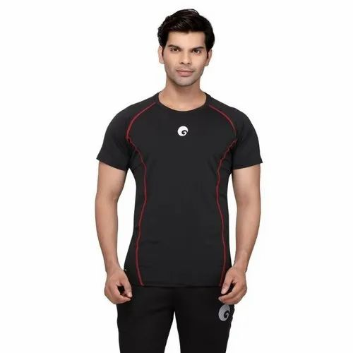 Omtex Cotton Black Compression Top Half Sleeves T-Shirt