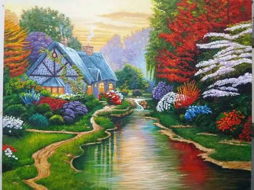 Landscape canvas painting oil painting knife painting