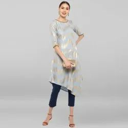 Grey Poly Crepe Kurta