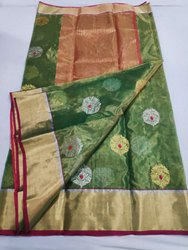 Festive Wear Green Chanderi Silk Saree, With blouse piece, 6.5 meter