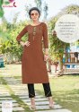 Cheshta -1 Heavy Rayon With Embroidery Hand Work Kurti With Pants Collection