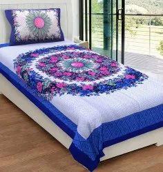 Floral Printed Cotton Single Bedsheet