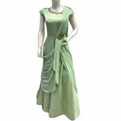 Party Wear Plain Ladies Designer Net Gown, Size: S-XL